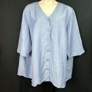 Maggie Barnes 4X 30 32 Blue Button Down Tunic Top